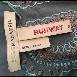 BCBG Runway. Blue embroidered sun dress. Size XS.